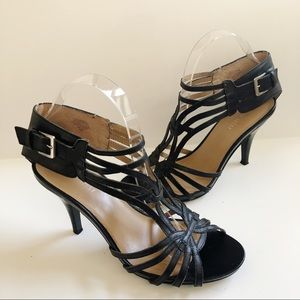 NINE WEST Black Strappy Heels Leather 8.5
